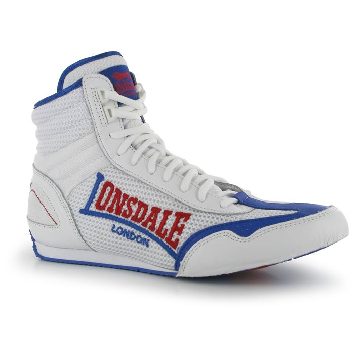 Lonsdale Contender Mens Boxing Boots - White Blue